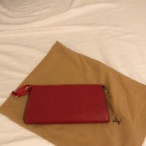 Handbags - Authentic Louis Vuitton Epi Pouchette in RED.